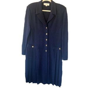 St. John Collection Navy knit button front dress